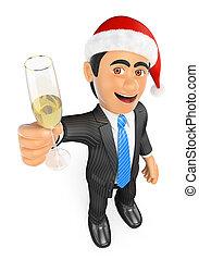 szampanka, biznesmen, toasting, boże narodzenie, 3d