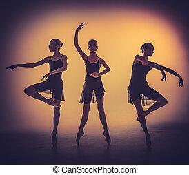 szary, baletnice, młody, sylwetka, przedstawianie, backgro