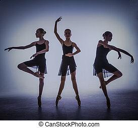 szary, baletnice, młody, tło., sylwetka, przedstawianie