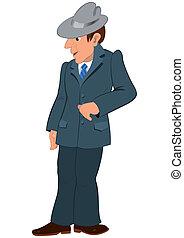 szary dostosowują, człowiek, kapelusz, rysunek