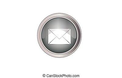 szary, guzik, ikona, email, okrągły