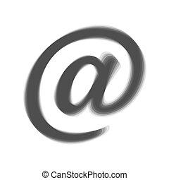 szary, illustration., znak, tło., shaked, vector., poczta, biały, ikona