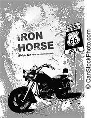 szary, image., ilustracja, wektor, motocykl, tło, pomarańcza