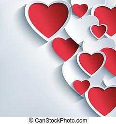 szary, list miłosny, tło, serca, szykowny, dzień, czerwony, 3d