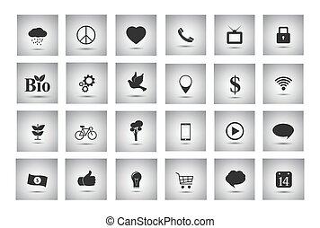 szary, obiekty, handlowy, płaski, ikony, rozmaity