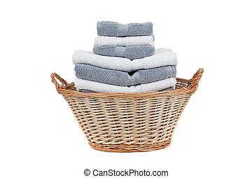 szary, pełny, pralnia, wiklina, ręczniki, kosz, biały