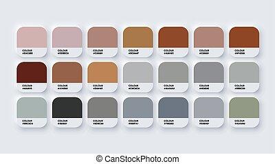szary, rgb, wektor, brązowy, hex., paleta, neomorphism, barwa, katalog, próbki
