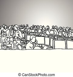 szary, rys, zajęty, handlowe biuro, doodle, concept., kwestia, odizolowany, ilustracja, ręka, kupcy, tło., wektor, czarnoskóry, pociągnięty, pień, prospekt