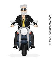 szary, sunglasses, skóra, jacket., włosy, motorcycle., człowiek, broda