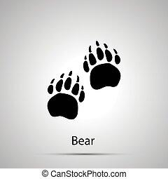 szary, sylwetka, znaki firmowe, prosty, niedźwiedź, łapy, kroki, czarnoskóry