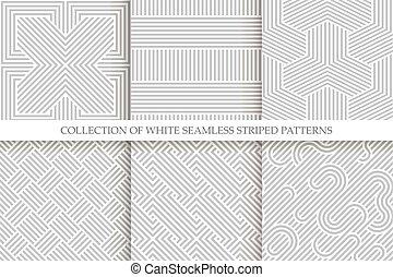 szary, wiklina, patterns., seamless, zbiór, repeatable, struktura, pasiasty, biały