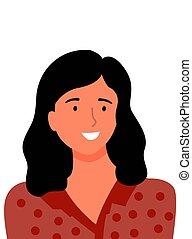 szczęśliwa kobieta, bluzka, brązowy, średni-wiek, kropkowany