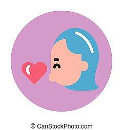 szczęśliwa kobieta, serce, młody, valentines dzień