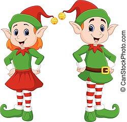 szczęśliwe boże narodzenie, rysunek, para, elf
