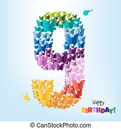 szczęśliwe urodziny, dziewięć, karta, lata