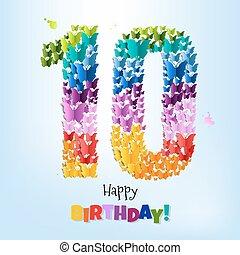 szczęśliwe urodziny, karta, dziesięć, lata