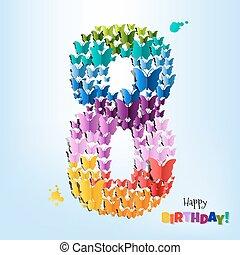 szczęśliwe urodziny, osiem, karta, lata