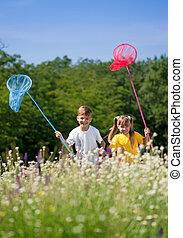 szczęśliwy, łąka, dzieci