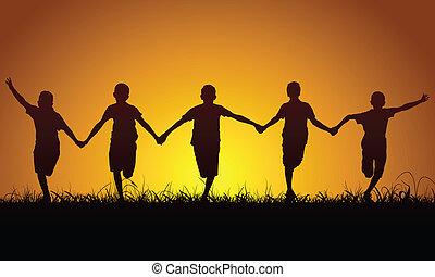 szczęśliwy, chłopcy, zachód słońca, wyścigi