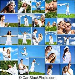 szczęśliwy, collage., ludzie