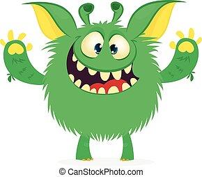 szczęśliwy, cudzoziemiec, rysunek, wektor, monster., zielony, halloween