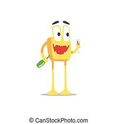 szczęśliwy, czarowny, skwer, partying, potwór, szykowny, twardy, ilustracja, szkło, wektor, butelka, pomarańcza, partia, wino, gość