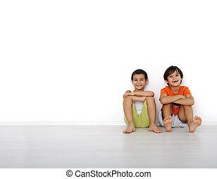 szczęśliwy, domowy, dzieci, dom, posiedzenie