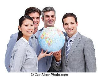 szczęśliwy, drużyna, patrząc, handlowy