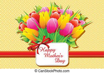 szczęśliwy, dzień, karta, matczyny