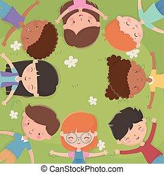 szczęśliwy, dzień, pole, dziatw, leżący, trawa, dzieciaki