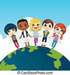 szczęśliwy, dzieci, multi-ethnic