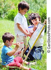 szczęśliwy, dzieci, rysunek, interpretacja