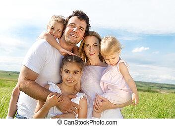 szczęśliwy, dzieci, trzy, rodzina, młody