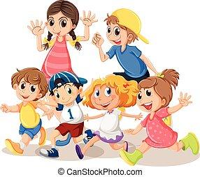 szczęśliwy, dzieci, twarz
