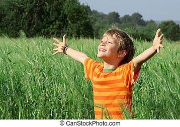 szczęśliwy, dziecko, lato, zdrowy