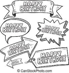 szczęśliwy, etykiety, urodziny, skuwki