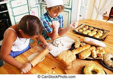 szczęśliwy, gotowanie, wyroby cukiernicze, swojski, dzieci