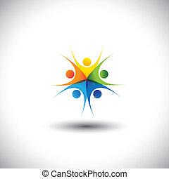 szczęśliwy, graphic., współposiadanie, togetherness, dzieci, spotkania, -, również, harmonia, podniecony, przyjaźń, barwny, ilustracja, jedność, integralność, wyobrażenia, dzieciaki, to, razem, interpretacja, ufność, wektor, albo