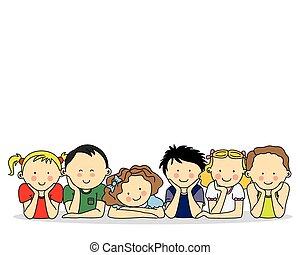 szczęśliwy, grupa, dzieci
