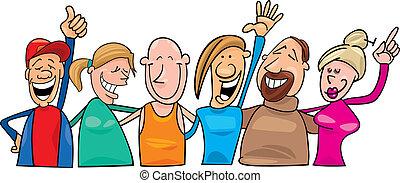 szczęśliwy, grupa, ludzie