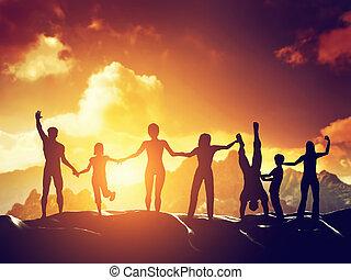 szczęśliwy, grupa razem, ludzie