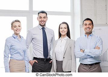 szczęśliwy, handlowe biuro, drużyna
