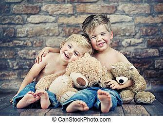 szczęśliwy, interpretacja, bracia, dwa, zabawki