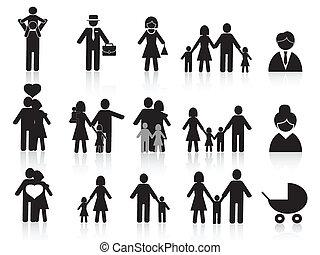 szczęśliwy, komplet, czarna rodzina, ikony