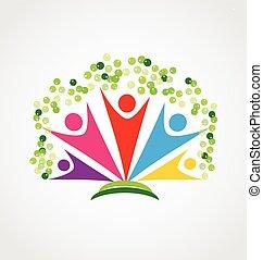 szczęśliwy, ludzie, logo, drzewo, teamwork