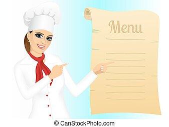 szczęśliwy, mistrz kucharski, spoinowanie, samica, menu