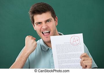 szczęśliwy, papier, egzamin, dzierżawa, człowiek
