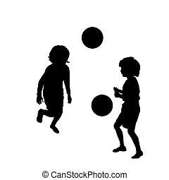 szczęśliwy, piłka nożna, interpretacja, dzieciaki