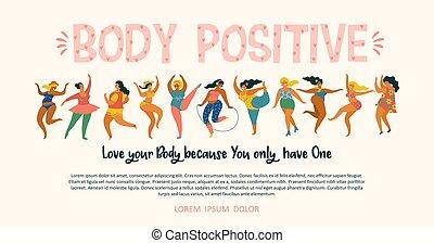 szczęśliwy, plus, positive., zdrowy, lifestyle., czynny, ciało, rozmiar, dziewczyny