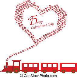 szczęśliwy, pociąg, dzień, list miłosny